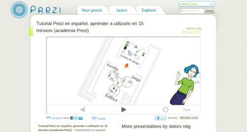 Prezi - ukázka procházení prezentace ve webovém prohlížeči
