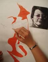 Malba vlastního portrétu - počítačem manipulovaná fotografie slouží jako předloha