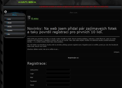 WWW stránky s registračním formulářem
