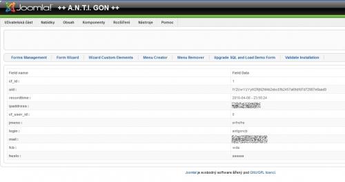 Výpis získaný při registraci nového uživatele.