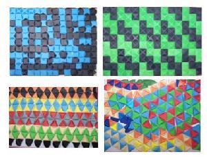 Barevná struktura – ukázka papírových koláží