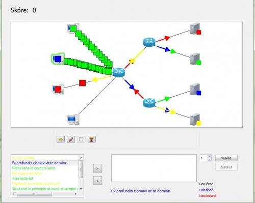 Klientská aplikace během hry