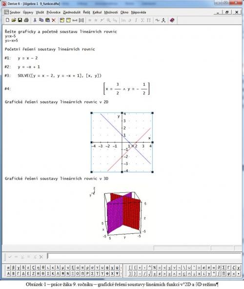 Práce žáka 9. ročníku – grafické řešení soustavy lineárních funkcí v 2D a 3D režimu