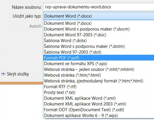 Export souboru do formátu PDF
