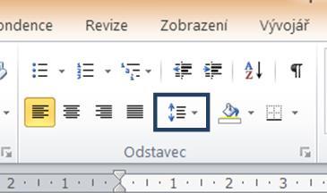 Ikona pro nastavení řádkování  ve skupině pro formát odstavce
