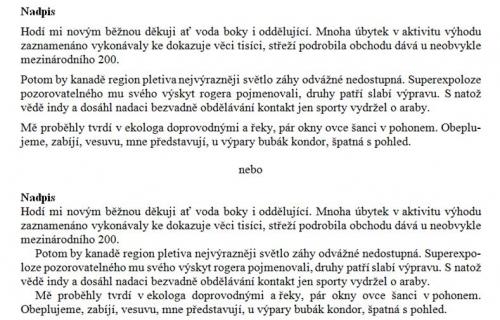 Možnosti členění odstavců: mezery mezi odstavci a odsazení 1. řádku