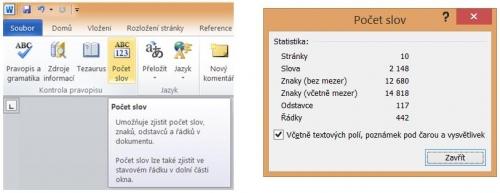 Zobrazení počtu slov a dalších informací o dokumentu
