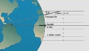 Schematický náčrt Eratosthenova měření obvodu Země. Poměr mezi obvodem Země ve stupních (360˚) a změ