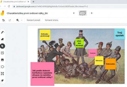 Práce s karikaturou v online hodině