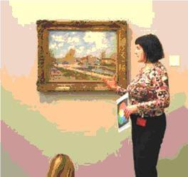 Ilustrační fotografie z galerijního programu, dialog před konkrétním uměleckým dílem, na fotografii