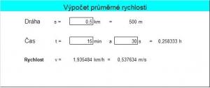 Výpočet průměrné rychlosti