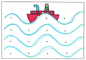 Pracovní list, na kterém jsou tečkami vyznačená místa pro kreslení vlnovek