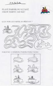 Pracovní list s labyrintem, dokreslováním obrázku podle vzoru