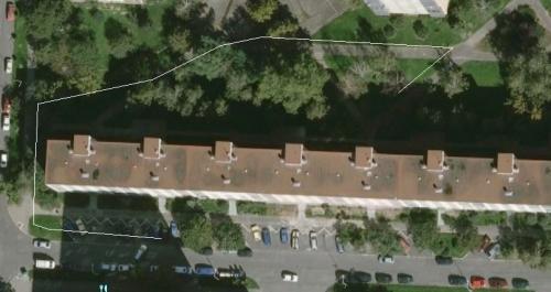 Prošlá trasa zobrazená pomocí linie v aplikaci Google Earth