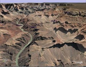 Grand kaňon v Google Earth, Arizona, USA
