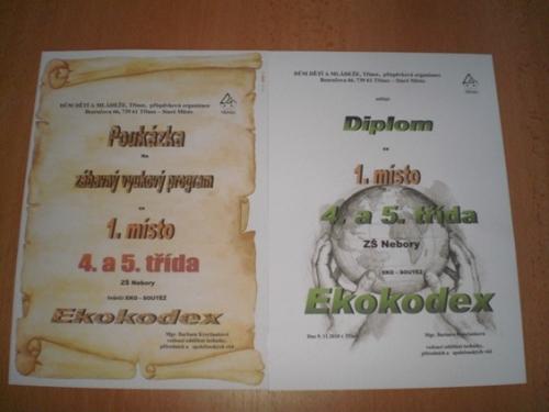 Diplom a cena za 1. místo v ekologické soutěži Ekokodex (spolupráce s DDM Třinec)
